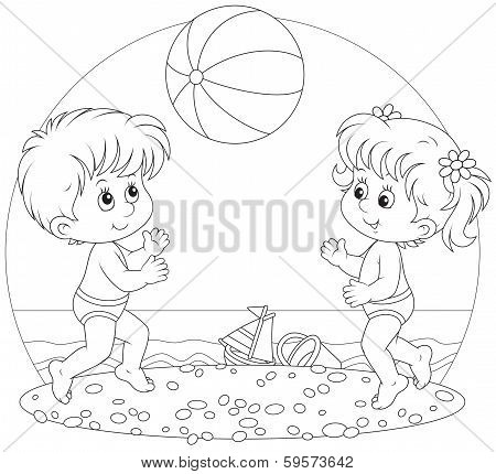 Children play a ball