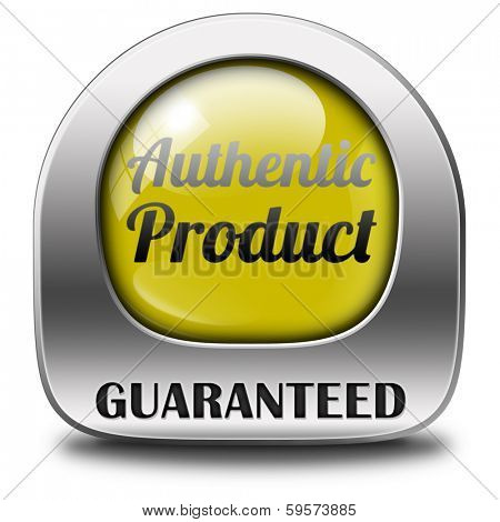 authentic label or button or icon quality guaranteed label authenticity guarantee assurance label for highest product control