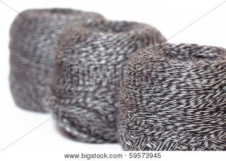 skein of  yarn melange in row