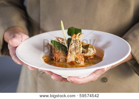 Thailand Spicy Lemon Grass Soup On Chef Hands