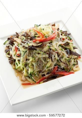 Cellophane Noodles Salad with Chicken and Vegetables and Black Fungus