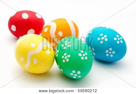 Colorful Easter Eggs Isolated Over White