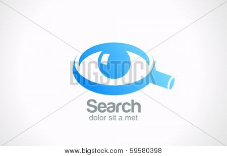 Search detective spy vector logo design template. Eye ball in Magnifying glass symbol. Abstract Searching Spying service.