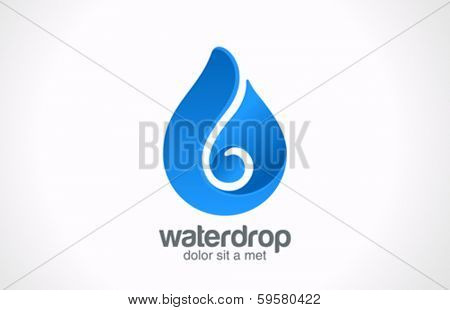 Blue Water drop abstract vector logo design template. Waterdrop creative shape such as logotype. Liquid Droplet concept symbol.