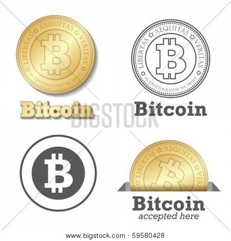 Bitcoin vector design elements set. Bit-coin payment collection. Gold coin - digital payments worldw