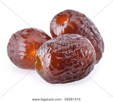 sugar preserved red date on white background