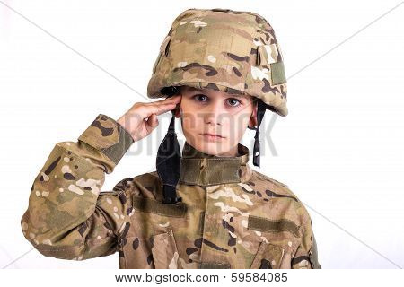 Saluting Soldier.