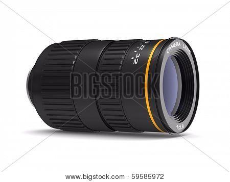 Camera lens on white background. Isolated 3D image