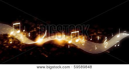 Conceptual image with music clef and notes