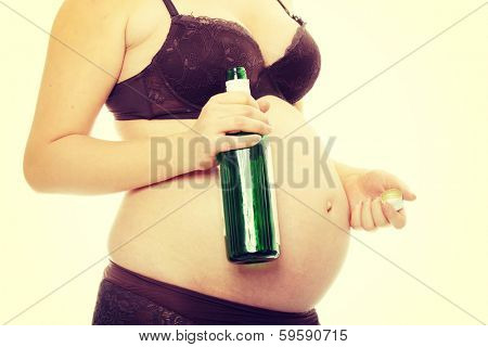 A pregnant woman with alcohol