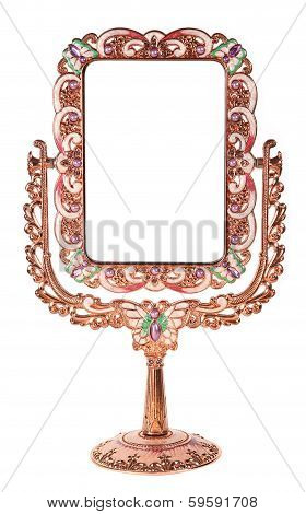 Metallic Mirror On A Stand On A White Background, Souvenir