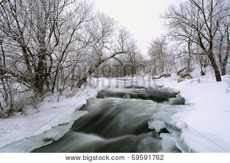 Winter Scenic Of The River Krynka, Donetsk Region, Ukraine