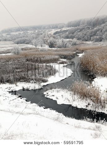Winter Scenic Of The River Kalynova, Makeevka
