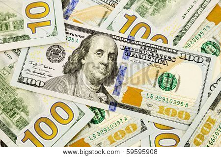 New Edition 100 Dollar Banknotes, Currency For Inflation And Economic Concept