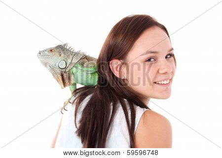 Girl With An Iguana