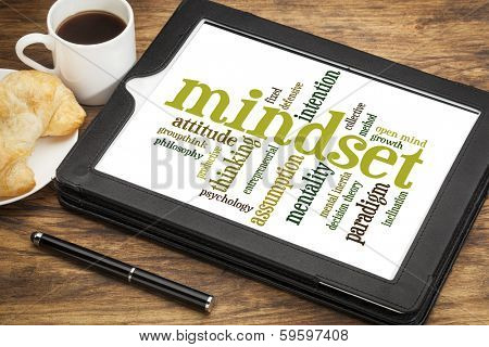 mindset  word cloud on a digital tablet with a cup of tea