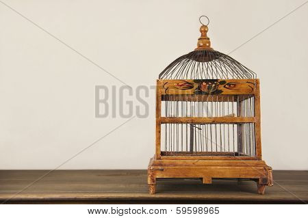 Bird Cage On Wooden Shelf