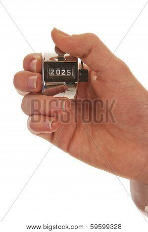 Hand Holding A Pedometer Closeup