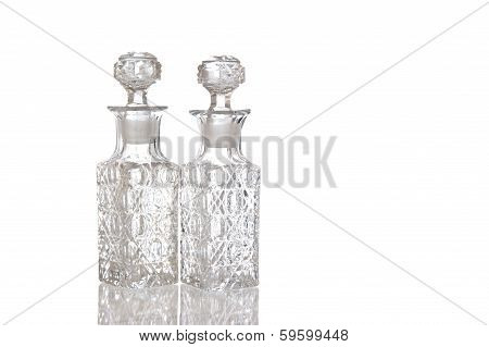 Two Decorative Glass Vinegar Carafe