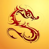 image of cult  - Red dragon tattoo in tribal art style - JPG