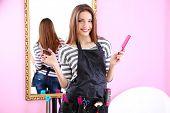 image of beauty parlor  - Beautiful girl hairdresser in beauty salon - JPG