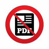 No PDF file document icon. Download pdf button.
