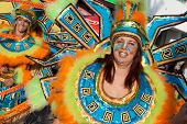 Sesimbra, Portugal - February 12, 2013: Member of the Ala section of the Samba School parade wearing