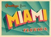 Vintage Touristic Greeting Card - Miami, Florida - Vector EPS10. Grunge effects can be easily remove