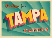 Vintage Touristic Greeting Card - Tampa, Florida - Vector EPS10. Grunge effects can be easily remove