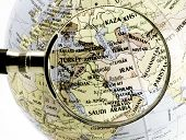 stock photo of political map  - focus on middle east - JPG