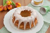 stock photo of sponge-cake  - Home made German Orange Sponge Cake - JPG