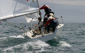 pic of sail-boats  - Sailing, yachting in the mediterranean sea ** Note: Slight motion blurriness, best at smaller sizes - JPG