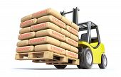 image of lift truck  - Forklift with cement sacks  - JPG