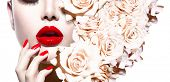 picture of  lips  - Fashion Sexy Woman with flowers - JPG