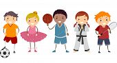stock photo of karate kid  - Illustration Depicting Different Activities Commonly Enjoyed by Kids - JPG