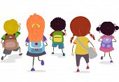 stock photo of sling bag  - Illustration of a Group of Kids Sporting Different School Bags - JPG