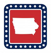 Iowa state button on American flag in flat web design style, isolated on white background.