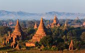 stock photo of pagan  - The Temples of bagan at sunrise Bagan(Pagan) Myanmar
