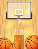 foto of ncaa  - An illustration of a basketball court balls and hoop - JPG