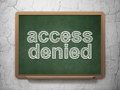 Security concept: Access Denied on chalkboard background