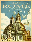 Travel to Rome Poster - Vintage travel advertisement with St. Peter's Basilica in Rome, against the