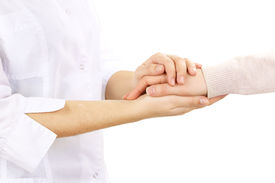 foto of sympathy  - Medical doctor holding hand of patient - JPG