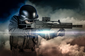 pic of sniper  - Soldier in uniform with rifle - JPG
