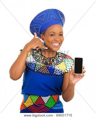 happy african woman doing call me sign and holding smart phone