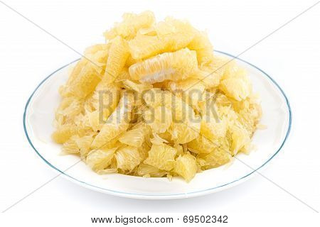 Pomelo Slices On Dish In Pyramid Shape