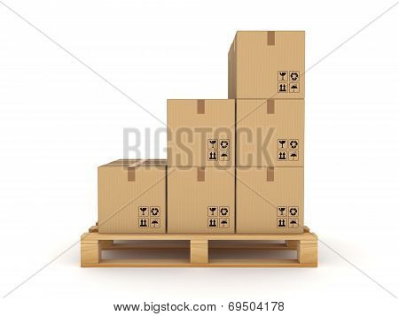 Carton box on a pallet.