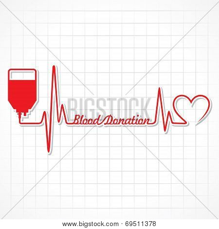 Blood donation concept with heartbeat stock vecor