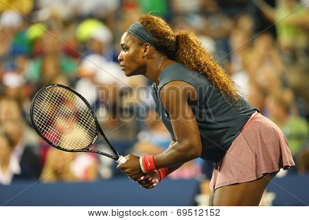 Sixteen times Grand Slam champion Serena Williams during match with Venus Williams at US Open 2013
