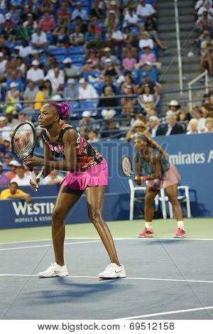 Grand Slam champions Serena Williams and Venus Williams during first round doubles match at US Open