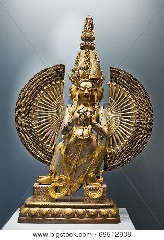 Mongolian Bronze Goddess Sculpture